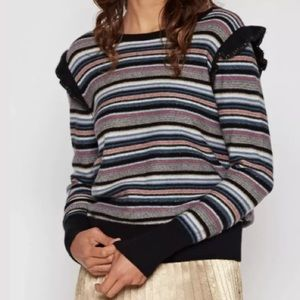 JOIE CAIS C STRIPED SWEATER PULLOVER WOOL;CASHMERE
